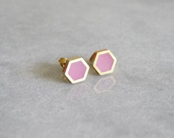 HEXAGON stud earrings - geometric - by STICKTAILS