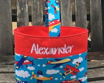 Personalized fabric Easter Storage basket basket.  Boys Spiderman
