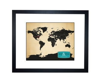 Best Anniversary Gift, world map, cotton anniversary gift, second anniversary gift, travel couple, personalized world map, cotton or paper