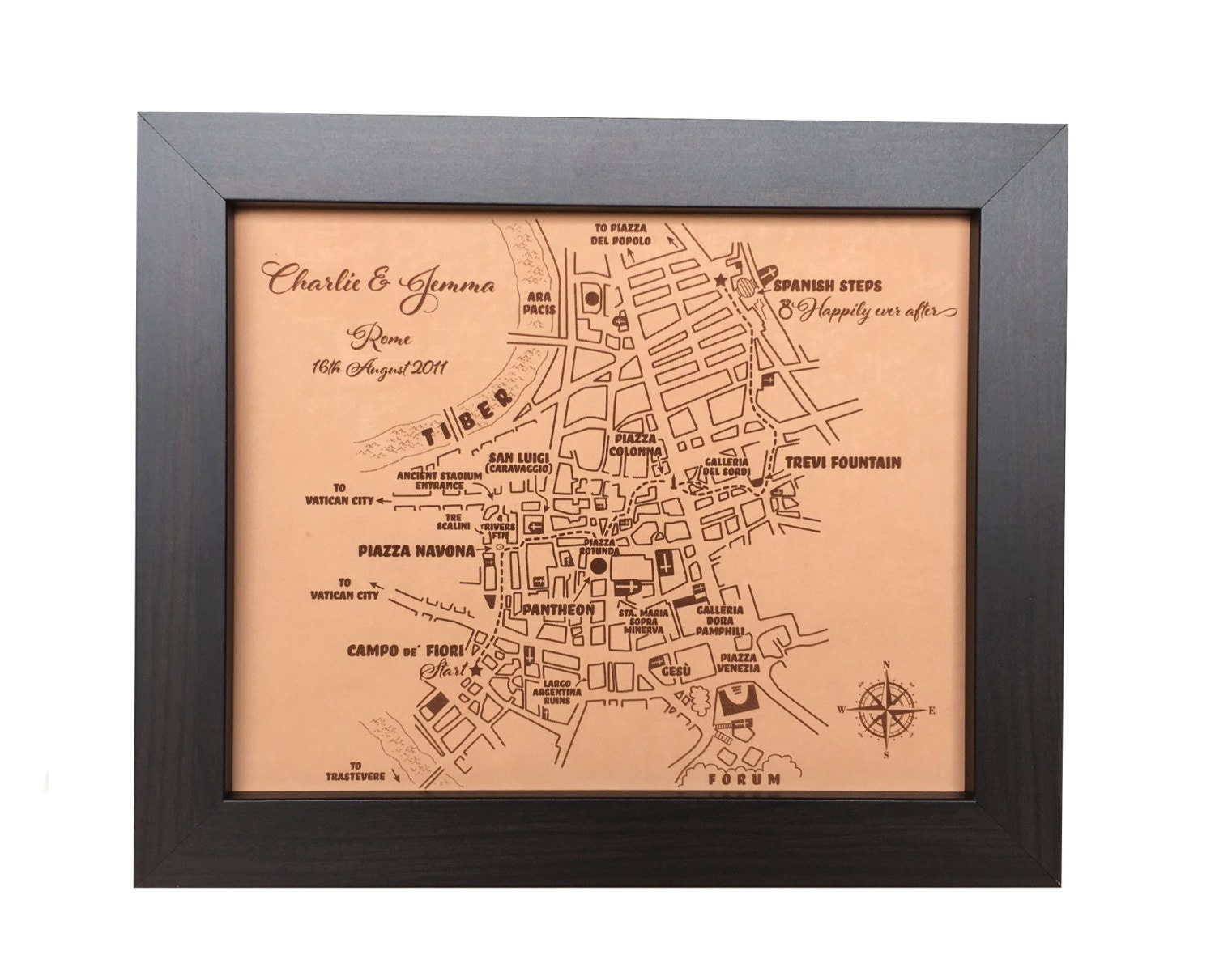 Leather Wedding Anniversary Gifts For Her: Leather Anniversary Gift For Her Custom Leather City Map 3rd