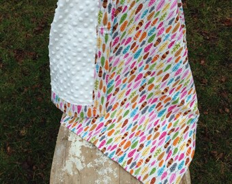 READY TO SHIP- Feathers Minky Blanket