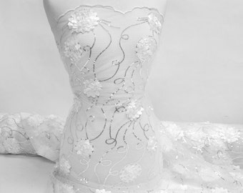 White Embroidered Net Fabric with Flowers and Sequins Style 2402
