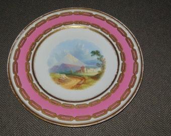 Antique 19 th Century Copeland 9 1/4 inch Dessert Plate , Hand painted Landscape Scene