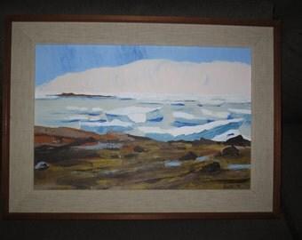 Vintage 70's Oil Painting Canadian Artist Frank Gonda, Frobisher Bay Canada, Landscape Oil on Artist board, Inuit decor