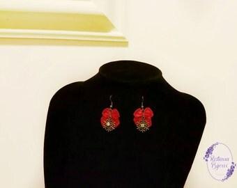 christma earrings snowflake red ribbon