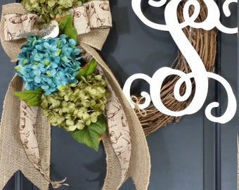 spring wreath - hydrangea wreath - tulip wreath - monogram wreath - wreaths - mothers day - easter wreath - summer wreath