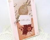 Autumn Leaves Card - French Vintage - Soft Pink - Mon Amie - Gold Foil Accent - Hand Stamped - Blank Card - Any Occasion - Autumn Theme