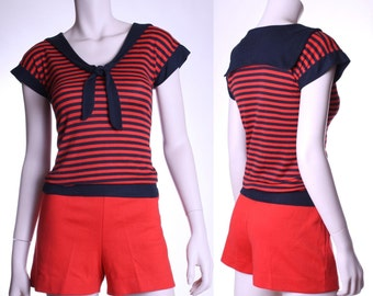 70s black & red striped sailor top - xs small or medium