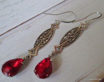 Red Crystal Earring, Red Earring,