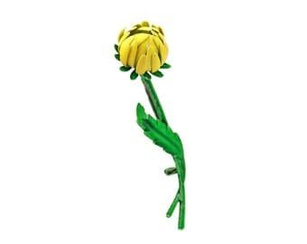 Weiss Yellow Enamel Flower Brooch / b16