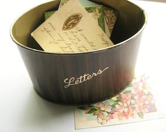 Vintage metal letter holder. Faux woodgrain. Desk accessory. Vintage office. Organizer. Retirement gift. Office prop. Metal desk.