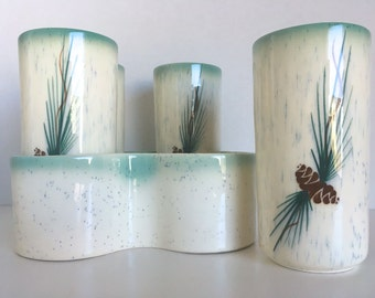 Ceramic Pinecone Turquoise Tumblers Highball Glasses and Holder Rocky Mountain Pottery