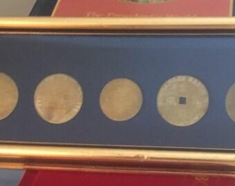Vintage Framed Brass Saloon Coins