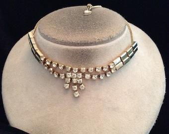 Vintage Goldtone Clear Rhinestone Necklace