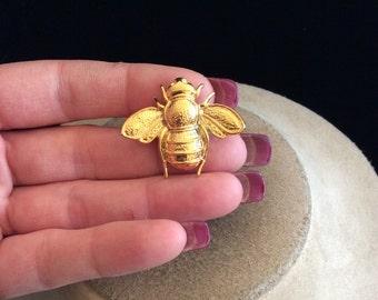 Vintage Signed NMCO Goldtone Bug Pin
