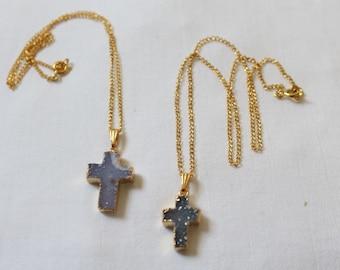 "Minis ""cross"" druzy quartz necklaces"