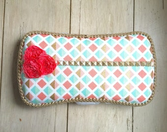 Baby wipe case, baby wipe clutch, diaperbag, changing mat, pink, green, gold, coral, baby shower gift