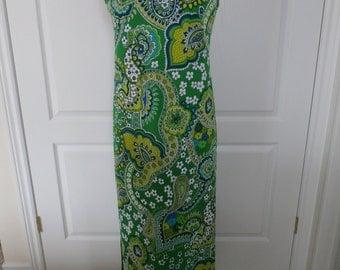 Vintage Maxi Dress Paisley 1960s 70s