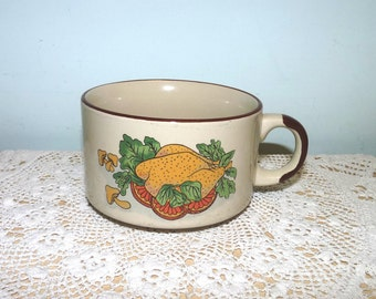 Soup Mug or Bowl wtith Handle, Cream, Brown, Rustic, Pipkin, Soup Mug, Cup, Houseware, 1960's, Retro, mid century, Made in England