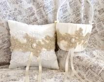 Flower Girl Basket Gold, Flower Girl Basket and Ring Bearer Pillow, Flower Girl Basket Vintage, Gold Ring Bearer Pillow, Ring Pillow Wedding