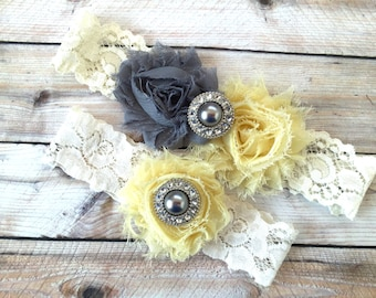 Yellow and gray garters, wedding garter yellow, wedding garters gray, yellow bridal garter, gray garter set, yellow and gray wedding garter