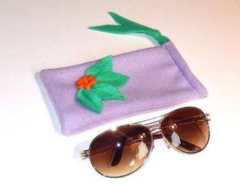 Purple green and orange hand sewn fleece material draw string sunglasses eyeglasses reading glasses pouch case
