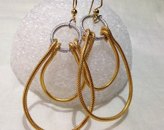 Gold, double hoop earrings, aluminum wire