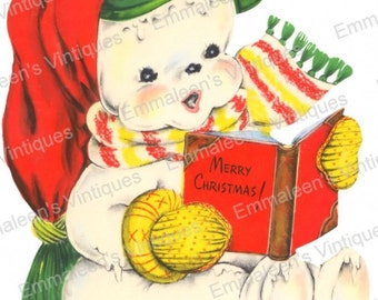 Vintage Shabby Retro Christmas Melting Snowman Digital Download — Printable Ephemera