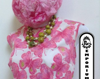 Vintage Dress 1960's  Pink White & Green Butterfly Floral Dress with Pleated Skirt Zipper Back No. 13