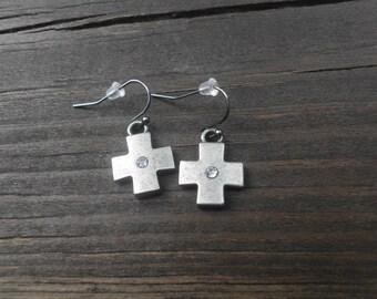 Oxidized gunmetal Crosses with rhinestone centers and gunmetal ear hooks earrings/minimalist/religious/cross/spiritual/boho chic/rocker
