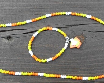 Little girl's Candy corn necklace and bracelet set/Czech glass seed beads/Orange,yellow and white seed beads/candy corn charm/Halloween