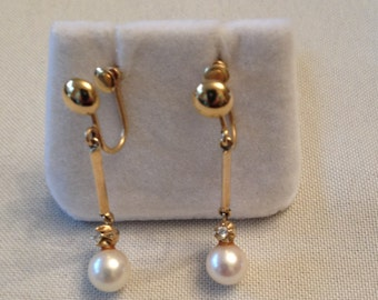 Long vintage pair of 14k yellow gold Cultured Pearl and Diamond Dangle Earrings with Screwbacks