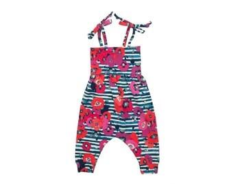 Baby Harem Romper, Toddler Harem Romper, Girls Romper, Baby Romper, Toddler Romper, Baby Girl Romper, Floral Romper, Striped Poppy Floral