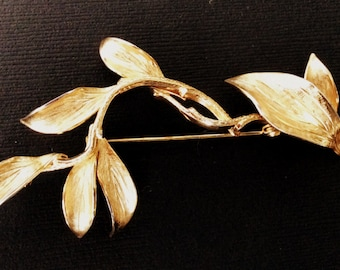 Grosse Gold Toned Leaf Brooch