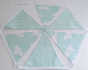 Mint green clouds bunting, nursery bunting, decoration. Nursery decor, kids room.