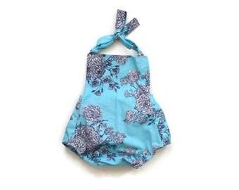 Baby Girl Romper Blue and Navy Floral / Kid Romper / Baby Girl Outfit / Toddler Romper / Children / Infant Romper / Baby Shower Gift