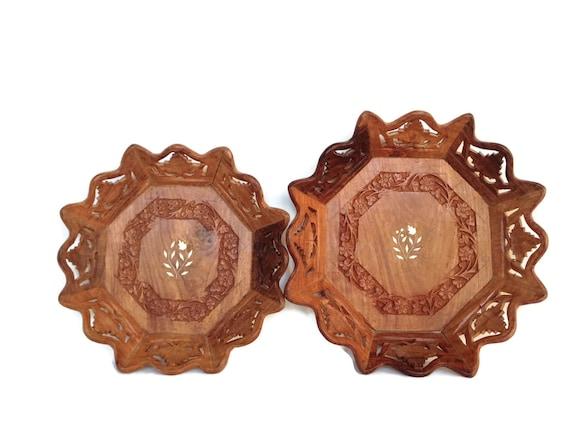 Vintage wood wall hangings repurposed wooden bowls bone inlay
