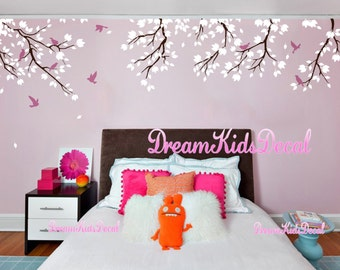 Nursery wall decal baby girl and wall decals cherry blosssoms wall sticker-Forest story with birds decals-DK183