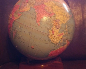 True Vintage Mid Century Replogle Globe with World Atlas Metal Base