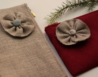 Linen Cosmetic Bag / Case Decorated with Linen Flower - Cherry Red OR Natural Linen Color - Choose the one you like