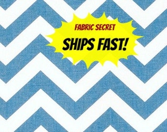 Baby Blue Chevron Fabric by the Yard Premier Prints cotton Home Decor upholstery zigzag geometric - 1 yard or more - SHIPS FAST