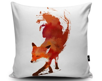 Fox Cushion, Fox Pillow, Foxy Cushion Cover, Animal Cushion, Fox Pillow Case, Red Fox Art, 45cm/60cm, 18inch/23.6inch Faux Suede Cushion