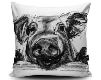 "Pig Cushion, Pig Pillow, Farm Animal Cushion, Black White Pig Illustration Bedding, Pig Home Decor, 45/60cm, 18""/23.6"" Faux Suede Cushion"