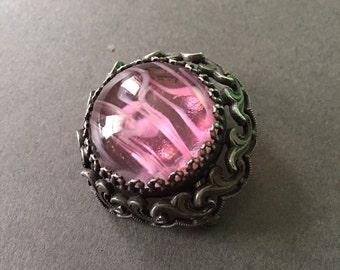 Vintage Brooch Glass Pink Marble Pewter Look