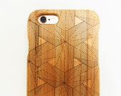 WOODEN PHONE CASE hexagons laser etched bamboo (wooden iPhone 4 case, wooden iPhone 4s case)