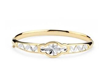 14K Two-Tone Gold Fancy Bangle, Fancy Bangle, Fancy Jewelry, Gold Jewelry, Gold Bangle, Bangle Jewelry, Yellow Gold Bangle, Gold, Bangle