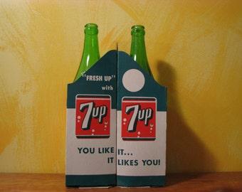 Vintage 7Up Bottles and Carrier