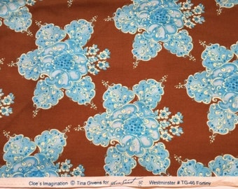 Chloe's Imagination Brown Turqouise  Tina Givens Fabric Rare VHTF sold by the half yard