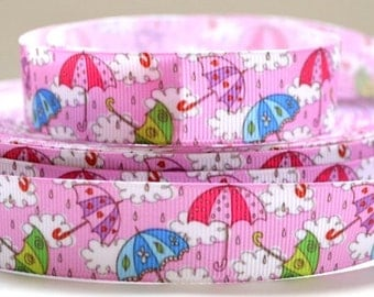 "Umbrella and Rain Cloud Ribbon, 7/8"" Grosgrain Ribbon"