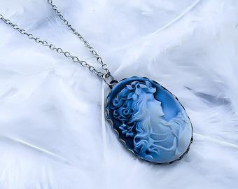 Blue Victorian Cameo Necklace - Renaissance Necklace - Cameo Pendant - Princess Necklace - Fairytale Necklace - Medieval Necklace